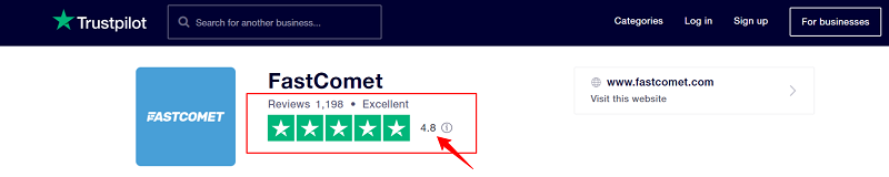 FastComet Rating on TrustPilot