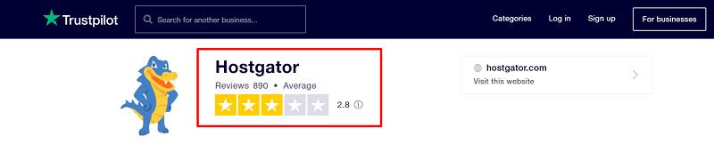Hostgator Trustpilot Rating