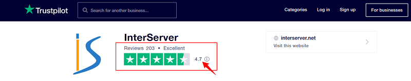 InterServer Rating on TrustPilot
