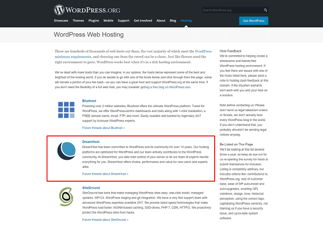 WordPress.org Recommends DreamHost